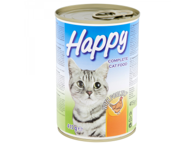 Happy macskaeledel baromfihússal 415g