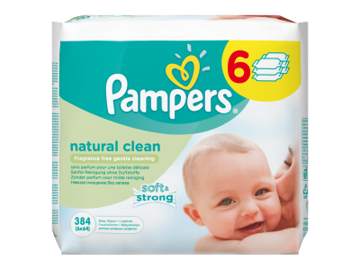 Pampers natural clean babatörlőkendő 6x64db