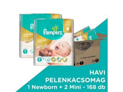 Pampers Pr. Care pelenka 1-es(newborn)88db + 2-es(mini)80db
