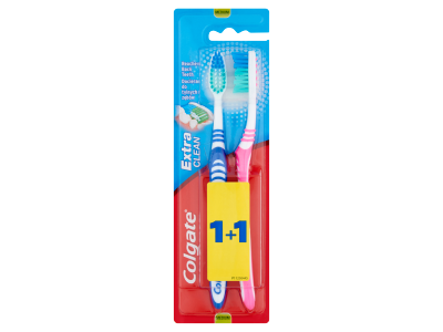 Colgate 1+1 extra clean duo közepes fogkefe