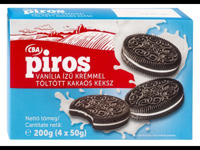 CBA PIROS kakaós keksz vanília ízű krémmel 200g