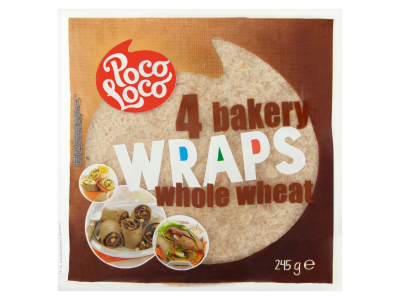 Poco loco lágy teljes kiőrlésű tortilla 245g