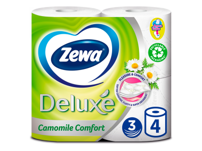 Zewa deluxe toalettpapír fehér camomile 3 rétegű 4 tekercs