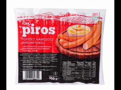 CBA PIROS füstölt, hámozott baromfi virsli 350g