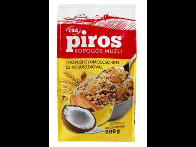 CBA PIROS ropogós müzli trópusi gyümölcs és kókuszdió 200g