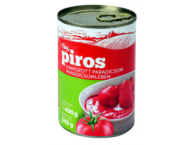 CBA PIROS hámozott paradicsom paradicsomlében 400g/240g