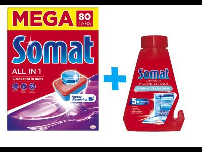 Somat mosogató tabletta 80db + Somat géptisztító 250ml