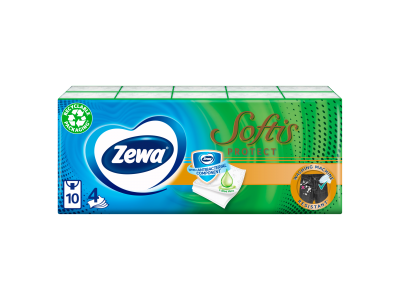 Zewa softis papír zsebkendő protect ill. 4rétegű 10x9db