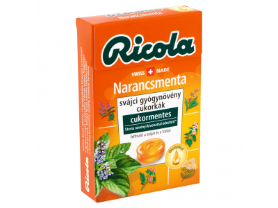 Ricola svájci gyógynövény cukorkák narancsmenta cukormen.40g