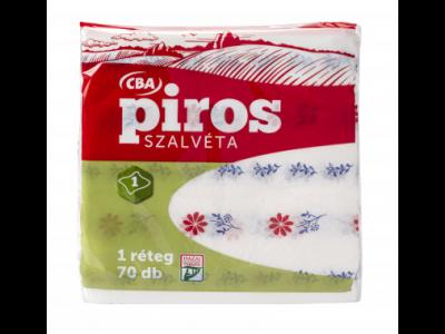 CBA PIROS szalvéta virág mintás 70 darabos 1 rétegű 33x33cm