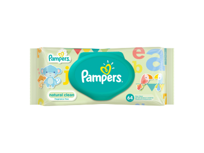 Pampers Natural Clean babatörlőkendő 64 db