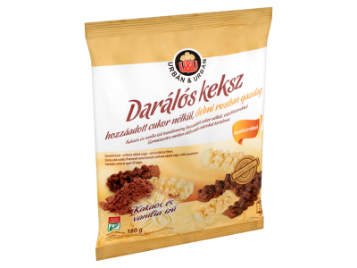 Urbán&Urbán kakaós-vanília ízű dar.keksz éd.szerekkel 180g