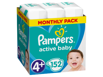 Pampers pelenka Active Baby Dry monthly box S4+ 152db