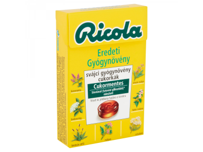 Ricola svájci gyógynövény cukorkák eredeti cukormentes 40g