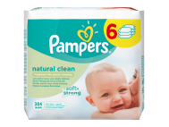 Pampers natural clean babatörlőkendő 6x64db