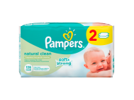 Pampers natural clean babatörlőkendő 2x64db